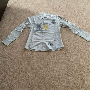 191 Unlimited Gray And Blue Button Down Shirt Sz:L